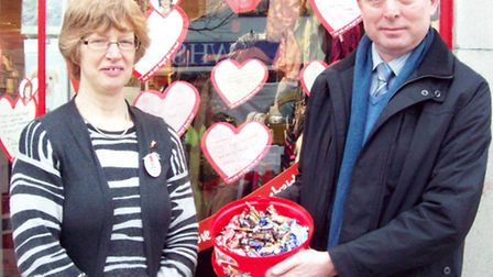Horsefair manager Kevin Smith and the Wisbech British Heart Foundation's store manager Janet Kenwort