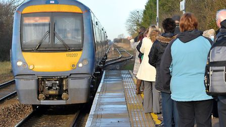 Manea Train Station. Abellio Greater Anglia train approaching the station.