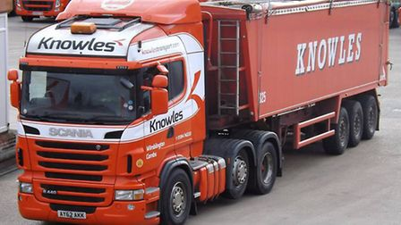 The Knowles Transport lorry pictured before leaving Wimblington earlier this week.