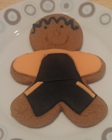 A gingerbread man in club colours