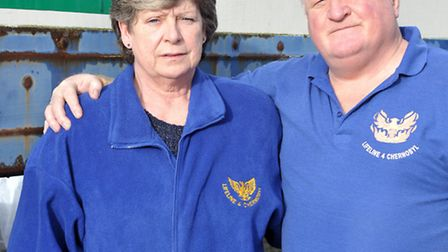 Charity sending stuff to Chernobyl affected by fire. Pauline and John Rotman. Picture: Steve William