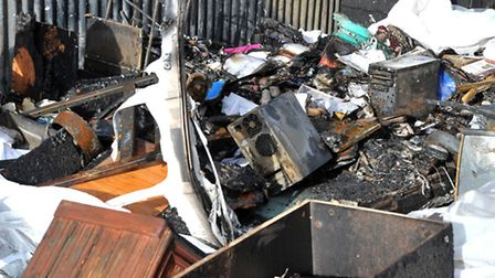 Charity sending stuff to Chernobyl but now affected by fire. Remains of the caravan office. Picture: