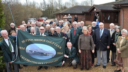 A centenary flag was raised at Sutton Bridge Golf Club. Club member past and present with the new ce