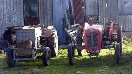 The two tractors that were stolen from a shed in Upwell.