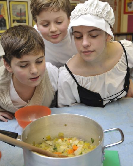 Feoffees Primary School, Little Downham, tudor day, year 6 pupils with their pottage they made.