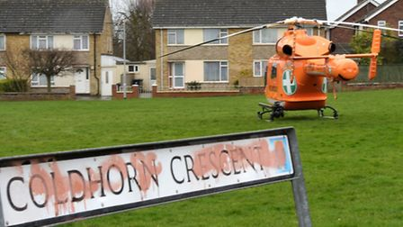 Air Ambulance lands on field in Coldhorn cresent Wisbech.