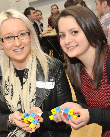 World of Enterprise Day at Cromwell Community College, Chatteris. Amber Mount and Luciana Edwards fr