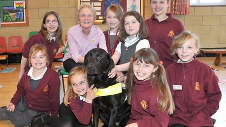 Gill Southgate with Guide dog Yasmin spoke about being blind and answered questions from the pupils