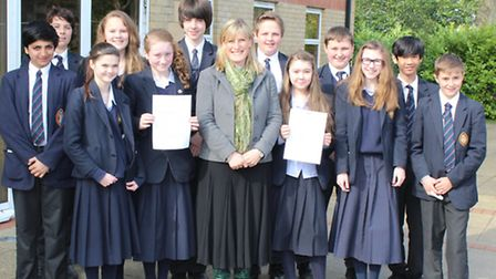 Wisbech Grammar School: The photo shows Mrs Carolyn Fear with the class of pupils who sent the lett