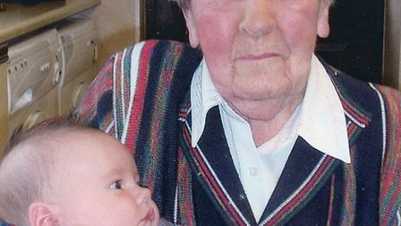 Hilda Cattell with her youngest great, great nephew.