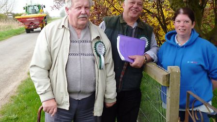 Erbie Murat, (centre) with Patrick O'Dell, canvassing the support of Wendy Bunting in Gorefield. Th