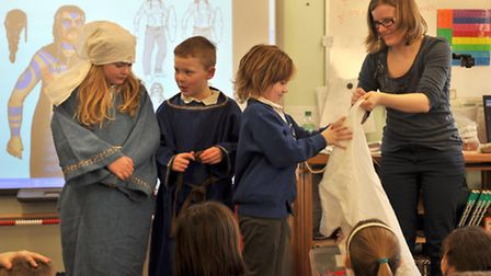 Pupils took a closer look at some medieval clothes in a session led by Jemima Woolverton.