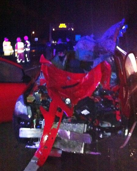 The car damaged when horses strayed onto the A14 at Sproughton on Christmas Eve