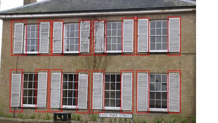 Ayelsby House: Red lines indicate the shutters to be removed