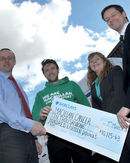 Hutchinsons of Wisbech, cheque presentation to macmillan cancer Support. Left: Howard Atkins Commerc