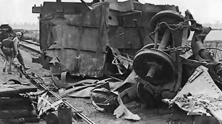 The wreckage from the explosion