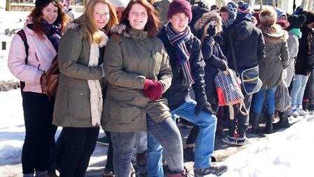 Students battle the snow during a trip to Central Park