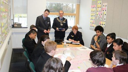 Neale Wade students meet Cllr Jan French and mayor Cllr Andrew Pugh