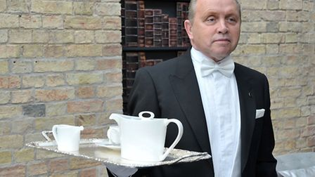 Poets House Ely. Afternoon Tea being served by Butler, George Telford. Picture: Steve Williams.