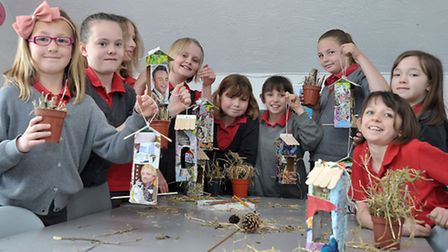 Enrichment day at Burrowmoor School, March. Bug Houses and Bird Feeders made from recycled and green