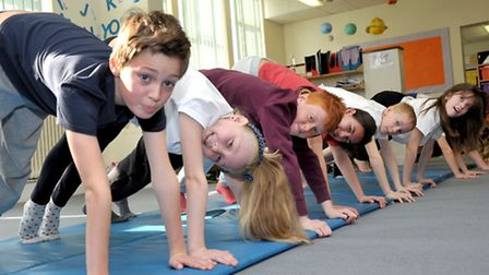 Enrichment day at Burrowmoor School, March. Pupils enjoying the Yoga group. Picture: Steve Williams.