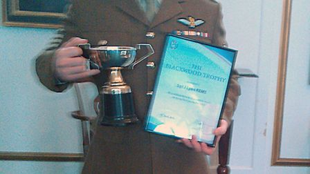 Sargent Lyon was presented with the Blackwood Trophy at the ceremony for achieving the best examinat