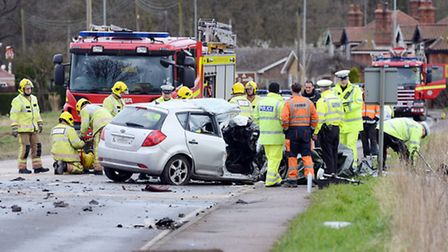 The aftermath of the A47 crash in which three people died. Picture: Matthew Usher.