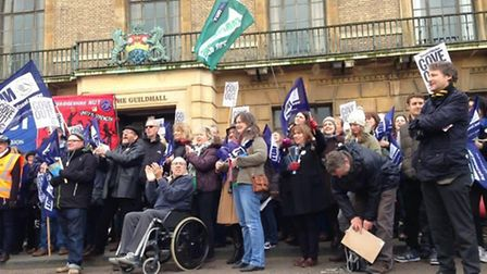 Some 400 were reported to have taken part in demo in Cambridge organised by Cambs NUT.