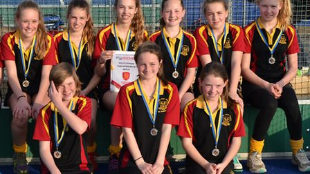 The victorious team (back row, from left), Nancy Hebron, Olivia Snooks, Heléna Squibb, Lucy Bailes,