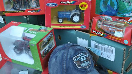 Some of the Agricultural models and toys and clothes for sale. Picture: Steve Williams.