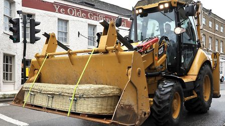 Coffin on digger of Richard Lock. Picture: Steve Williams.