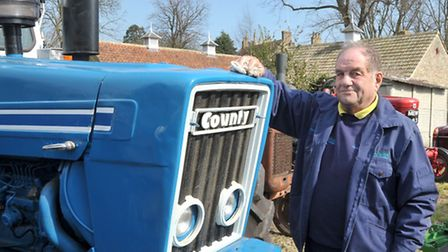 Bygones & Organ Day at Little Downham Village Hall Ely. Alfred Sennitt Keeping the County tractor cl