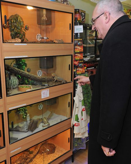 Pet shop visit by the Bishop of Ely during his Wisbech 'day out'