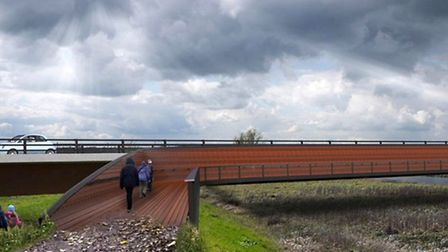 Ely Bypass. Seperated footway and viewing platform.