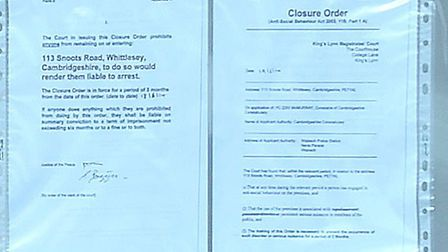 113 Snoots road Whittlesey.Closure Order.