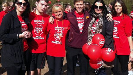 Lewis Taylor, second left, and Julie Wenn, third left, with supporters at the Sport Relief Mile, fro