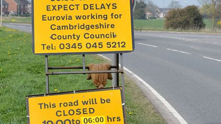A605 road works, Whittlesey to Coates.