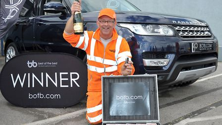 Network Rail employee Phil Pinning had a surprise win of a Range Rover and £10,000. Picture: Steve W