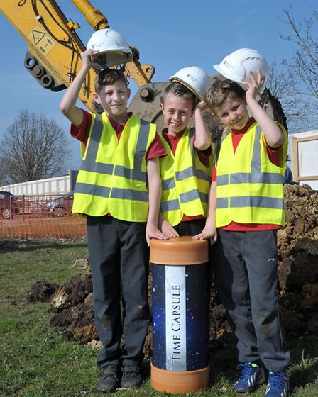 A time capsule burial to mark the start of construction work of the new housing development at Gaul