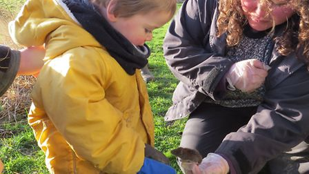 A family meets a bank vole. Picture: WWT WELNEY