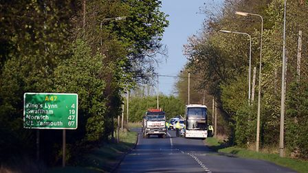 Police at the scene of an RTC on the A47 near Tilney All Saints. Picture: Matthew Usher.