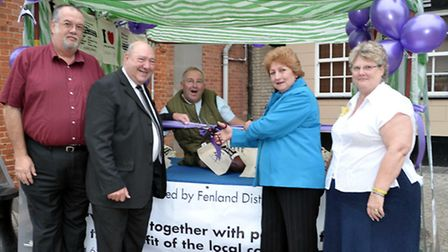 Markets and Events Manager Mike Chapman (left) with Cllr, Peter Murphy, Cllr Alan Melton, Cllr Jan F