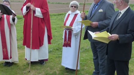 Bishop visits church of St James,Newton. left: Rev Sandra Gardner, the Rev Janet Philips and the ch