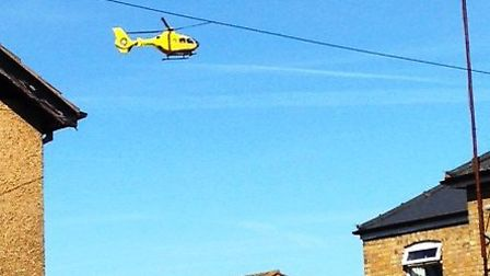Air ambulance in March today: Photo by Ryan Berridge