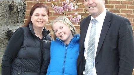 Nicola Mizen, her daughter Hannah and MP Steve Barclay.