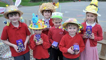 Rackham school, Witchford. Had an Easter bonnet competition. Pupils from the school with their Winn