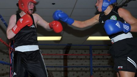 March ABC boxing show. Vicky Larham ( March) Red, V Heidi Redman ( Taymar, Cornwell) Picture: Steve