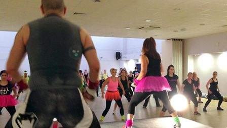 Fund-raisers take part in one of the fitness sessions.