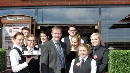 Frankie and Bennys opens in Wisbech. Centre: Manager Adam Wyatt with some of the team members. Pictu