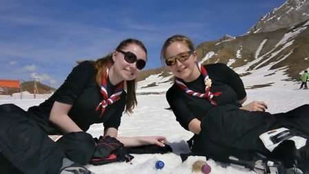 Alice and Leah taking a lunch break whilst cross country ski-ing on the Engstlingalp